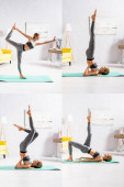 Collage of blonde sportswoman practicing yoga on fitness mat