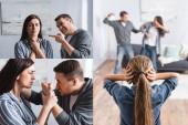 Koláž zneužívajícího muže bití manželky s modřinami v blízkosti dítěte zakrývající uši doma