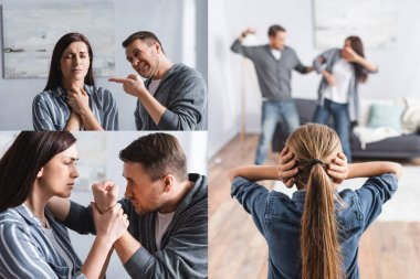 Collage of abusive man beating wife with bruises near kid covering ears at home stock vector