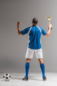 Zadní pohled na atletický muž ukazuje jo gesto, zatímco drží mistři pohár vedle fotbalu na šedém pozadí