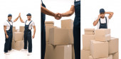 collage of multicultural movers shaking hands and giving high five near boxes, and indian worker talking on smartphone near boxes on white