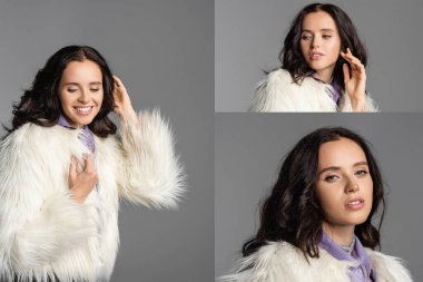 Collage of smiling elegant brunette young woman in stylish white faux fur jacket posing on grey background stock vector