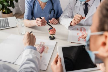 Nurse pointing with pen at brain anatomical model near multiethnic colleagues at workplace with pictures and devices on blurred foreground stock vector