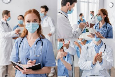 Collage of redhead nurse with notebook looking at camera, talking to doctor and applauding during meeting near colleagues on blurred background stock vector