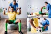 Collage eines afrikanisch-amerikanischen Sportlers, der in der Nähe eines Arztes auf einer Fitnessmatte trainiert