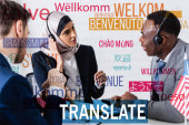 multicultural business partners near interpreter and digital translators, words in different languages illustration. Translation: welcome