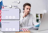 fiatal tolmács fülhallgató közelében dolgozó laptop elmosódott előtérben, illusztrációja fordítási alkalmazás interfész