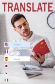 fiatal tolmács dolgozik kínai szótár, különböző nyelvek ikonok illusztráció