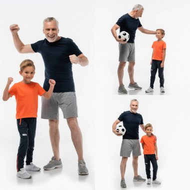 collage of mature man holding soccer ball and showing win gesture together with grandson on white