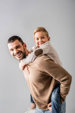 Happy man piggybacking smiling son while looking at camera together isolated on grey stock vector