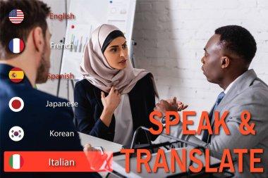 Arabian businesswoman gesturing near african american businessman and interpreter, translation app interface illustration stock vector