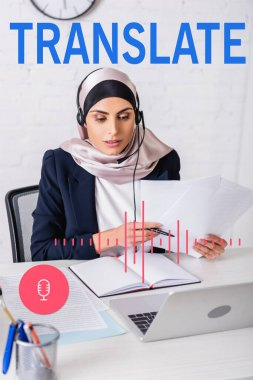 Arabian interpreter in headset working with documents near notebook and laptop, translate lettering near microphone and volume scale illustration stock vector