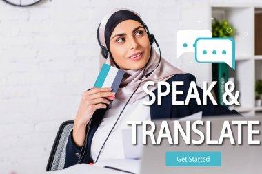 Happy arabian interpreter in headset holding digital translator, speak and translate lettering near speech bubbles and get started icon illustration stock vector