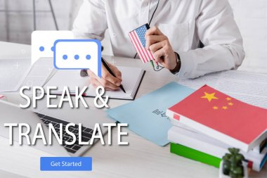 Cropped view of interpreter working near paper with hieroglyphs, speak and translate lettering and get started icon illustration. Translation:
