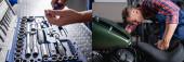 koláž mechanického držáku šroubováku u bedny s nářadím a kontrola motocyklu v dílně, banner
