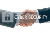Cropped view of business partners handshaking and cyber security illustration isolated on white