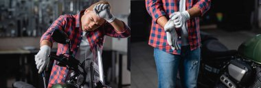collage of tired mechanic checking motorbike with screwdriver and putting on gloves, banner