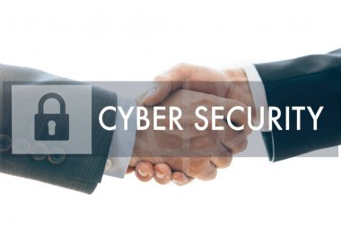 Cropped view of business partners handshaking and cyber security illustration isolated on white stock vector