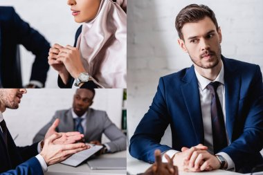 Collage of multicultural business partners having meeting with interpreter in office stock vector