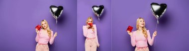 Collage of blonde young woman holding heart shaped balloon and gift on purple background, banner stock vector