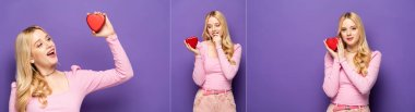 Collage of blonde young woman holding red heart shaped box on purple background, banner stock vector