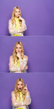 Collage of pensive and amazed blonde young woman in colorful outfit on purple background stock vector