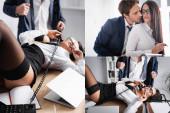 Collage von Geschäftsmann verführt Kollegin und sexy Geschäftsfrau liegt auf Schreibtisch in der Nähe entkleideter Geschäftsmann