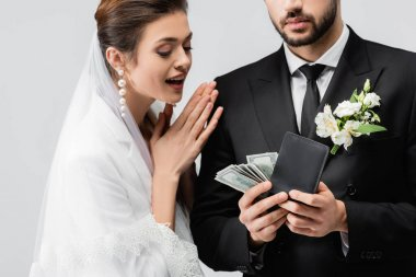 Excited bride looking at groom with dollars and wallet isolated on grey stock vector