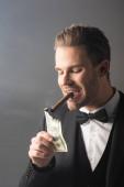 bohatý podnikatel osvětlení doutník se sto dolary bankovky na šedém pozadí s kouřem