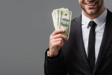 Partial view of smiling businessman in black suit holding money isolated on grey stock vector