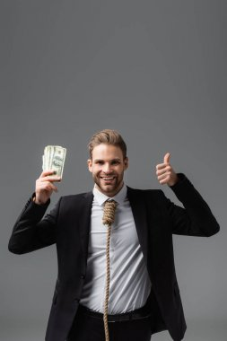 Joyful businessman with rope on neck holding money and showing thumb up isolated on grey stock vector