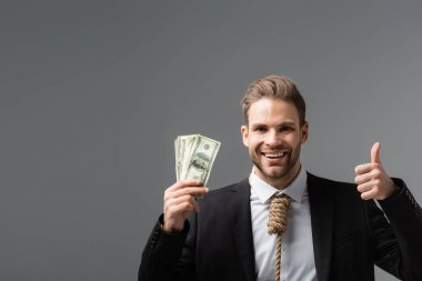 Cheerful businessman with tie made of rope holding dollars and showing like isolated on grey stock vector