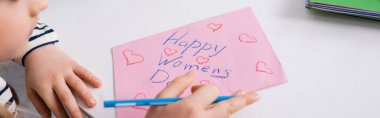 Cropped view of child drawing happy women day card, banner stock vector