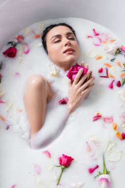 Sensual woman enjoying floral bath with milk while holding rose stock vector
