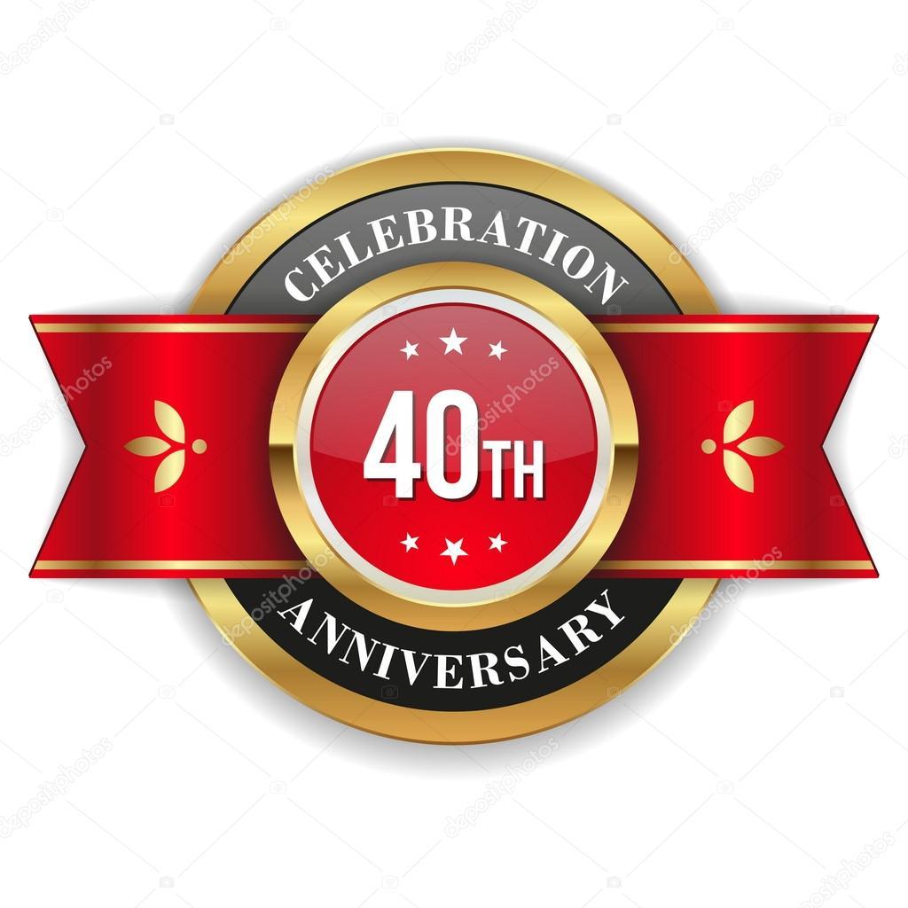 Gold 40th Anniversary Badge Stock Vector