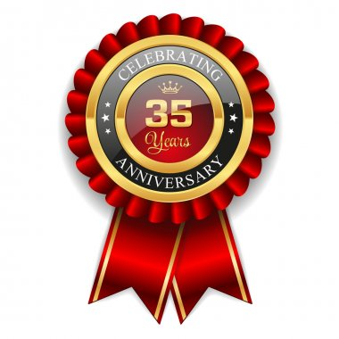 Gold 35 years anniversary badge