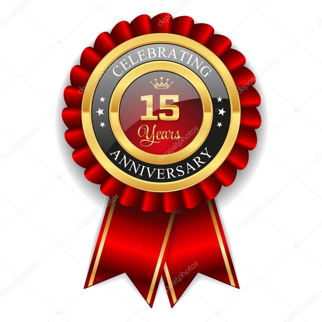 Gold 15 Years Anniversary Badge Stock Vector Newartgraphics