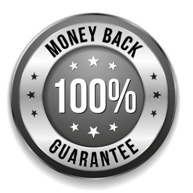 Silver money back badge