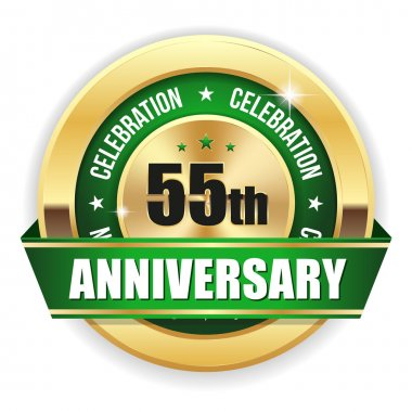 Green 55th  anniversary badge