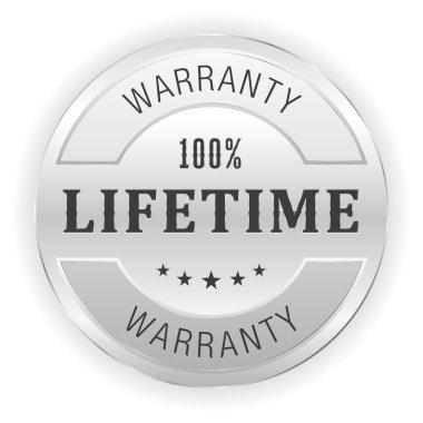 Silver lifetime warranty button