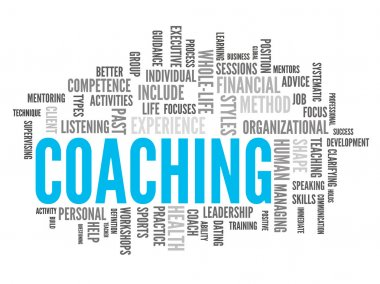 Blue and grey coaching word-cloud