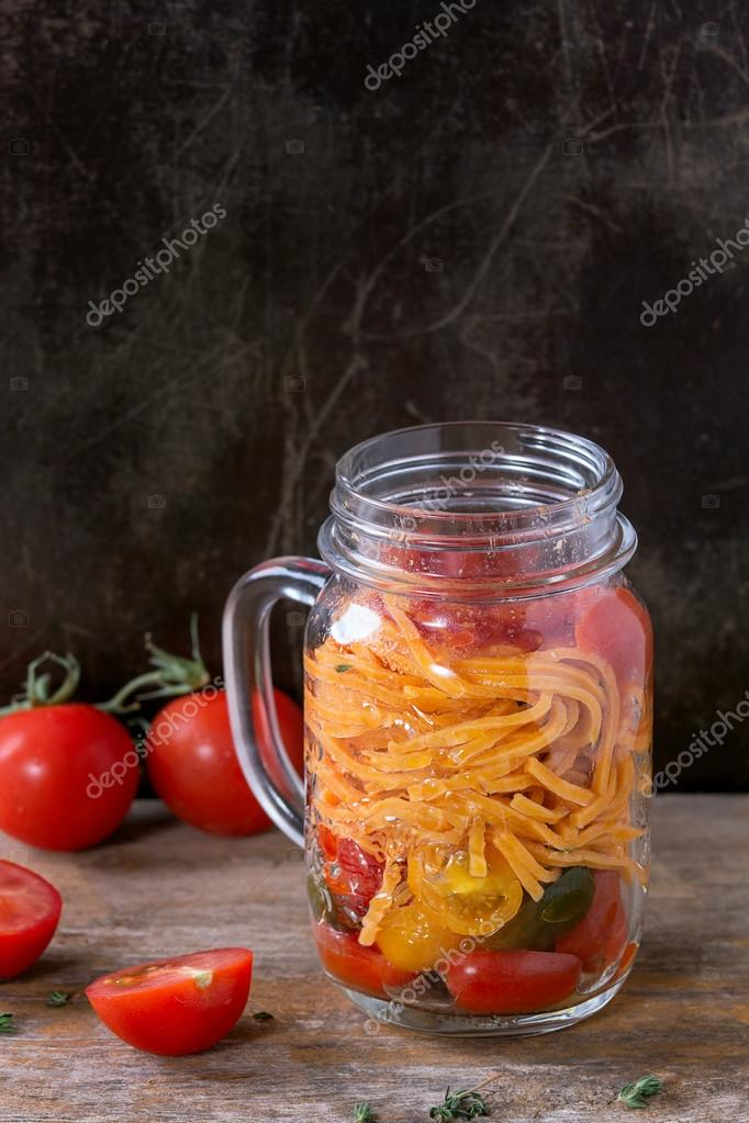 Tomato Pasta With Sauce Thyme And Sliced Cherry Tomatoes In Glass Mason Jar Served Over Old Dark Wooden Background Lunch To Go Photo By Natashabreen