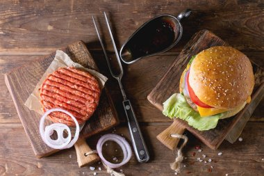 Burger and raw cutlet