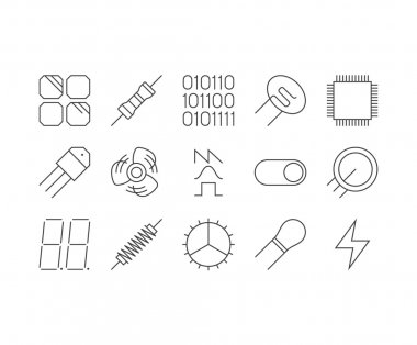 Set of thin mobile icons for circuit diagram, electronic board a