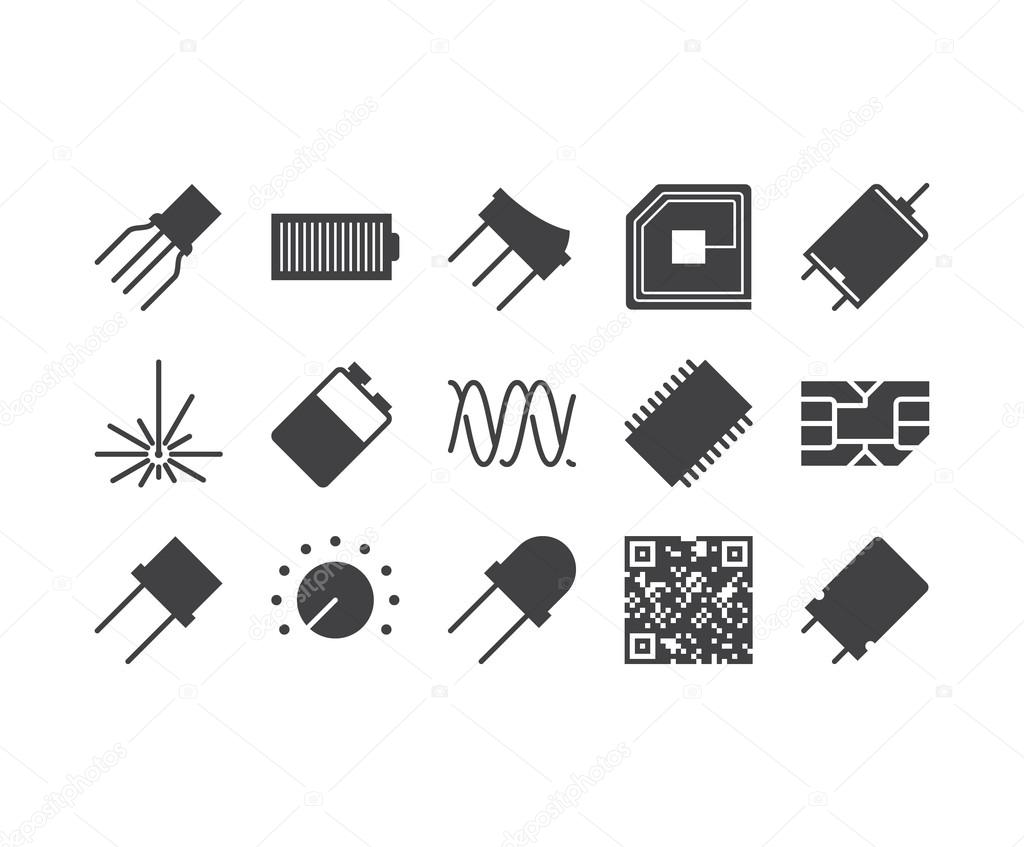 Set Of Thin Mobile Icons For Circuit Diagram Electronic Board A Diagrams Download Stock Vector