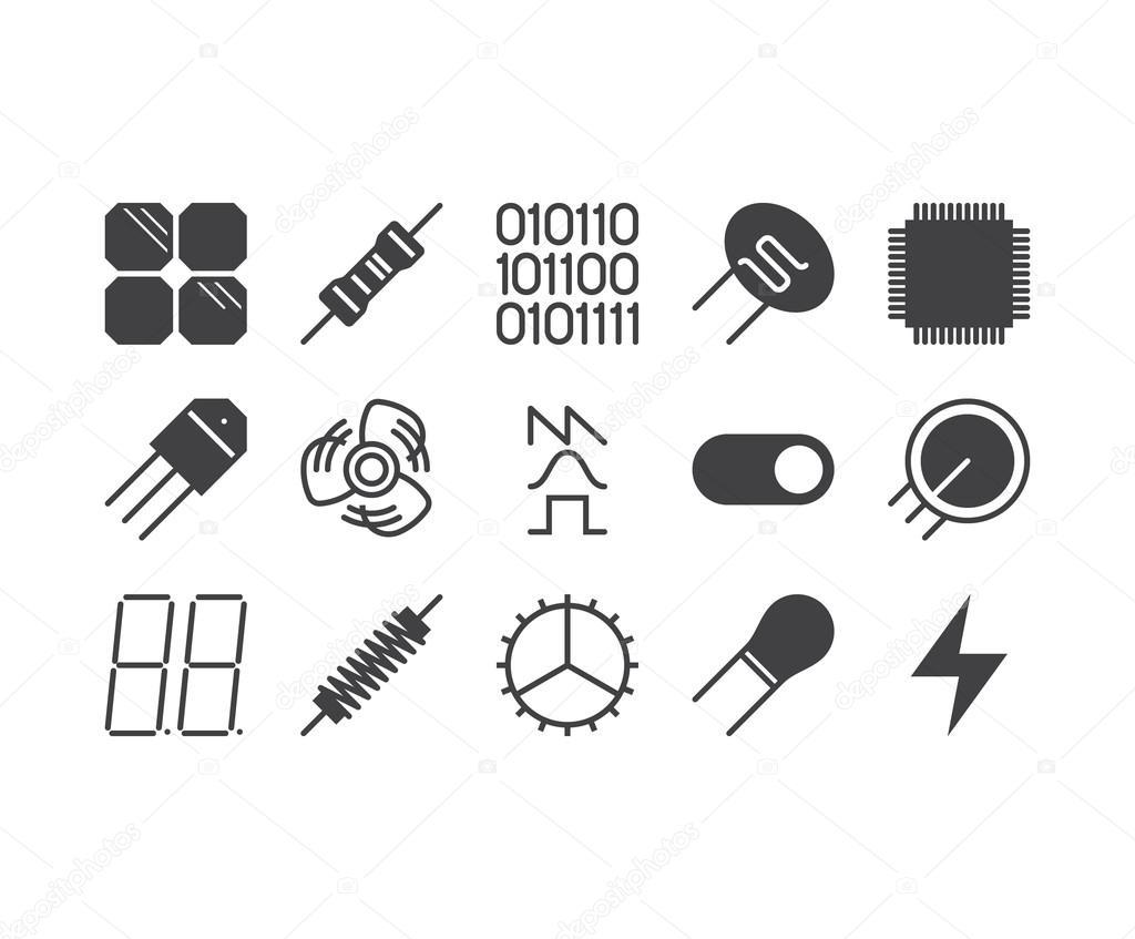 Set of thin mobile icons for circuit diagram electronic board a