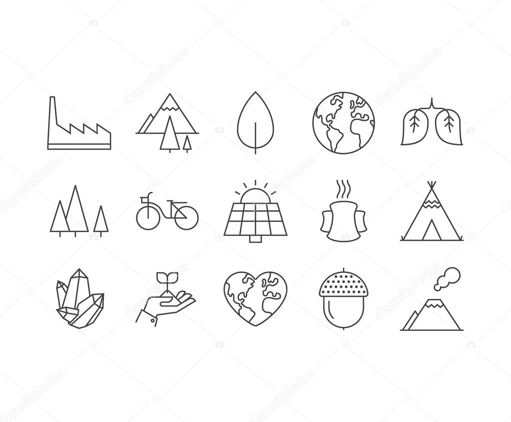 Set of thin mobile icons ecology metaphors, nature and environme