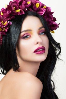 Beauty portrait of young pretty brunette woman