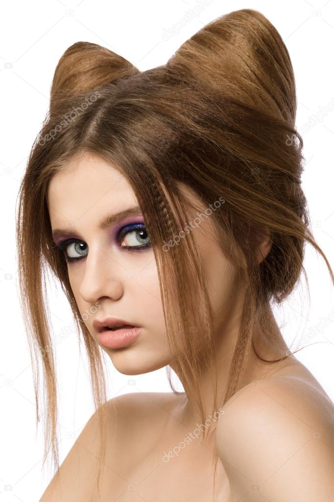 Junge Hübsche Mädchen Mit Niedlichen Katze Ohren Frisur