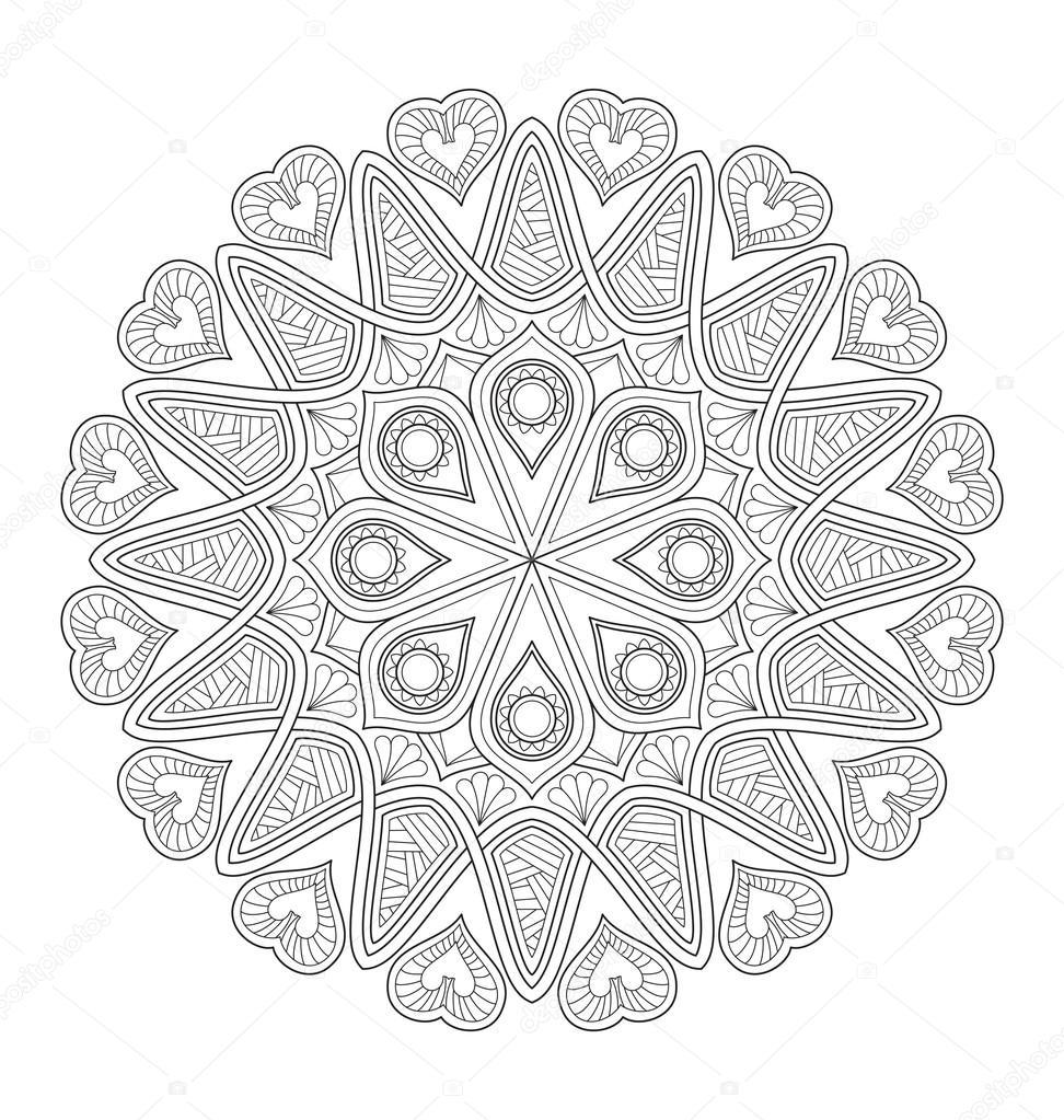 Mandala Illustratie Voor Volwassen Kleuren Stockvector Rijal